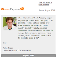 CoachExpress Newsletter August 2013