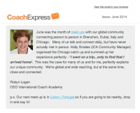 International Coach Academy June 2014 Newsletter