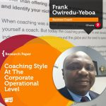 Research Paper: Coaching Style At The Corporate Operational Level